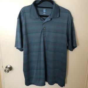 PGA Tour Blue Striped Golf Polo Shirt XL EUC